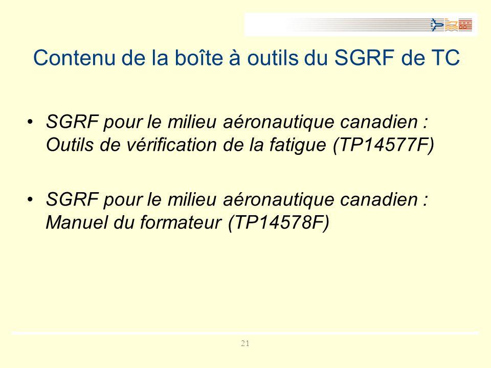 Contenu de la boîte à outils du SGRF de TC