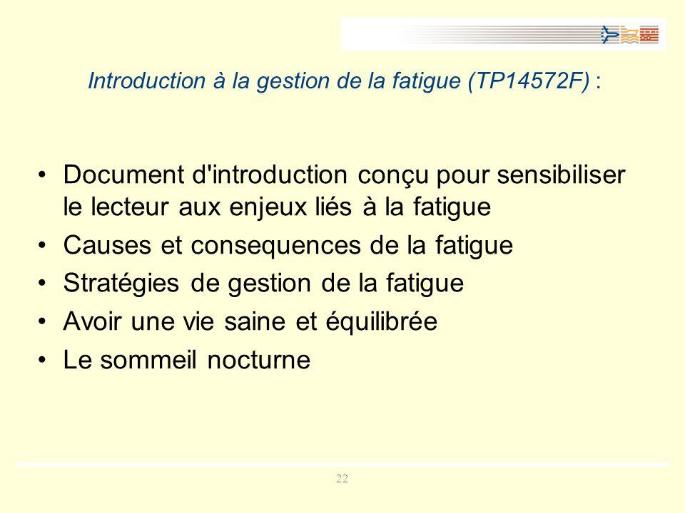 Introduction à la gestion de la fatigue (TP14572F) :