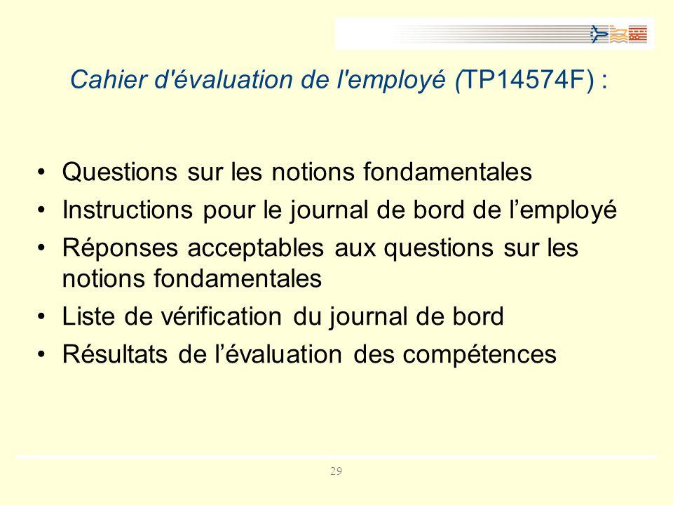 Cahier d évaluation de l employé (TP14574F) :
