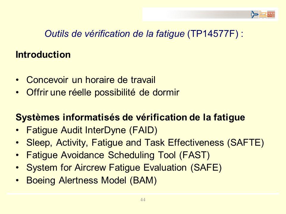 Outils de vérification de la fatigue (TP14577F) :