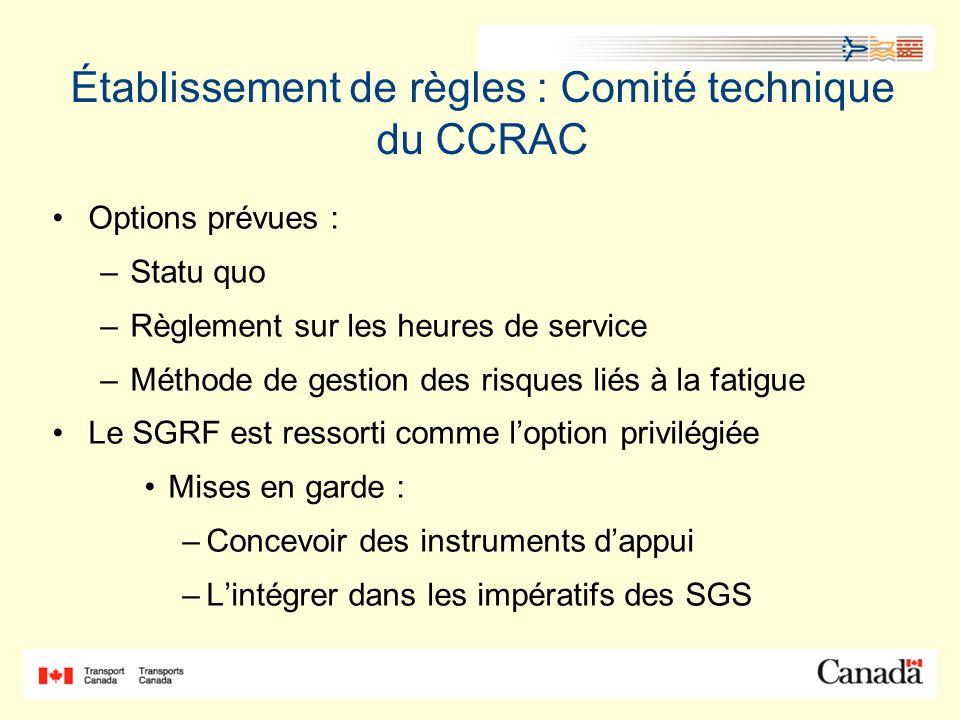 Établissement de règles : Comité technique du CCRAC