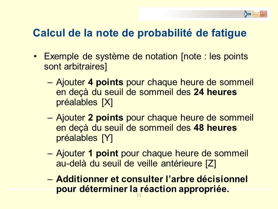 Calcul de la note de probabilité de fatigue