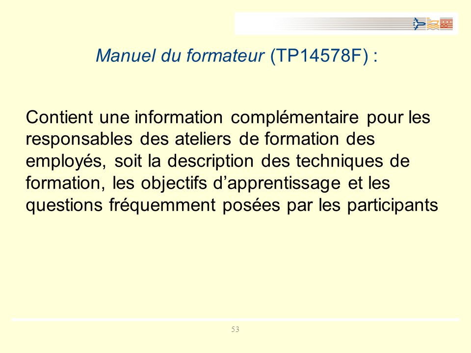 Manuel du formateur (TP14578F) :