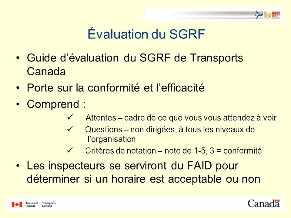 Évaluation du SGRF Guide d'évaluation du SGRF de Transports Canada