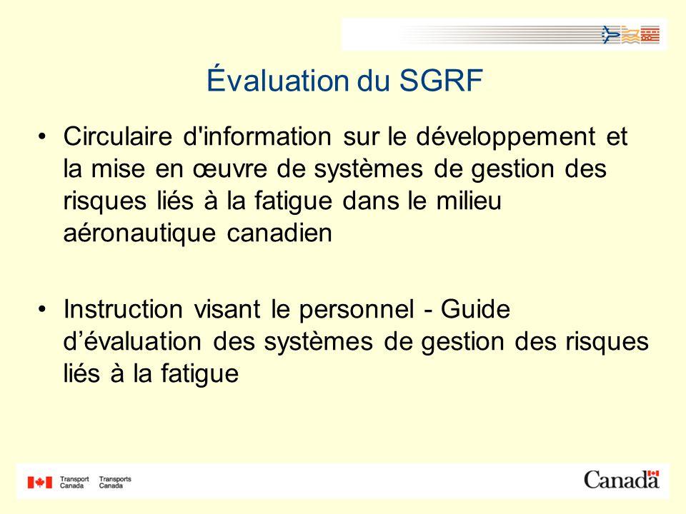 Évaluation du SGRF