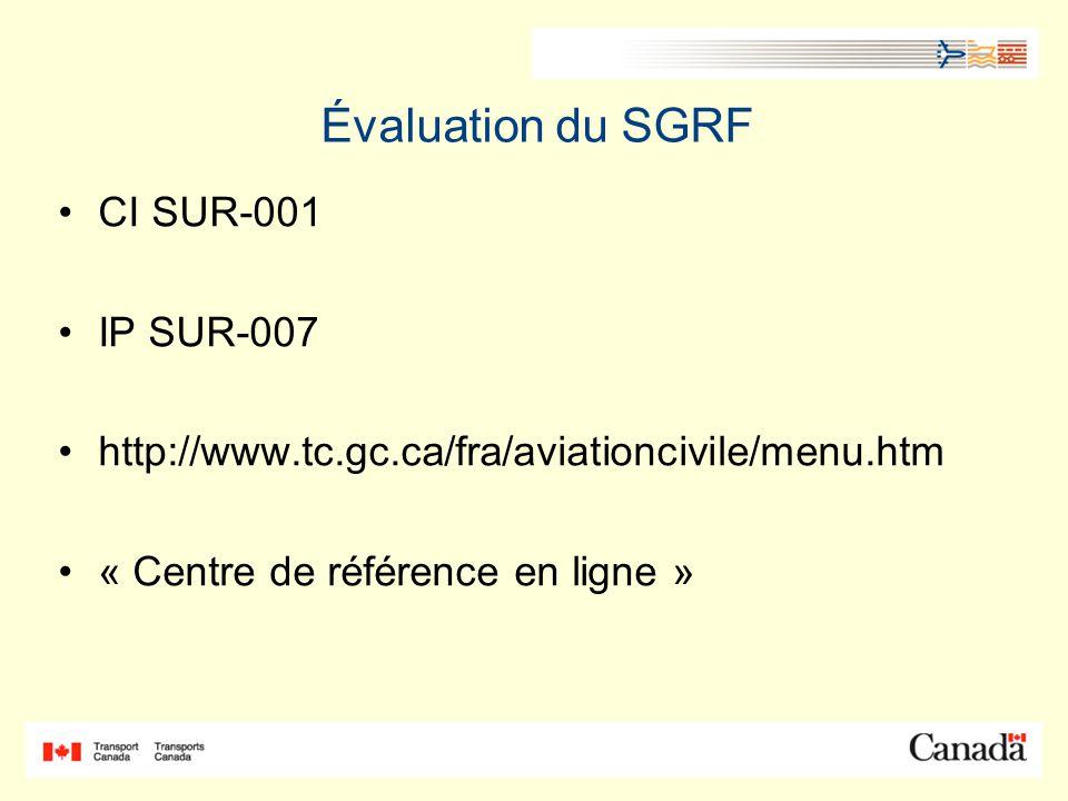 Évaluation du SGRF CI SUR-001 IP SUR-007