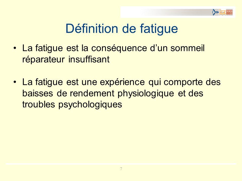 Définition de fatigue La fatigue est la conséquence d'un sommeil réparateur insuffisant.