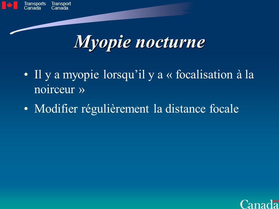 Myopie nocturne Il y a myopie lorsqu'il y a « focalisation à la noirceur » Modifier régulièrement la distance focale.