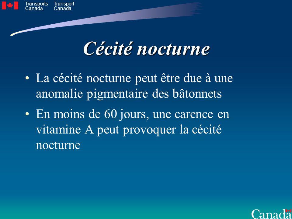 Cécité nocturne La cécité nocturne peut être due à une anomalie pigmentaire des bâtonnets.