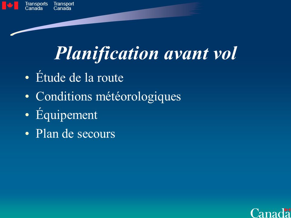 Planification avant vol