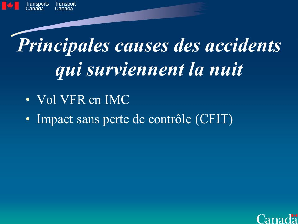 Principales causes des accidents qui surviennent la nuit
