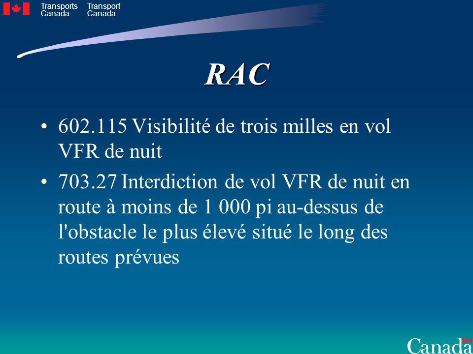 RAC 602.115 Visibilité de trois milles en vol VFR de nuit