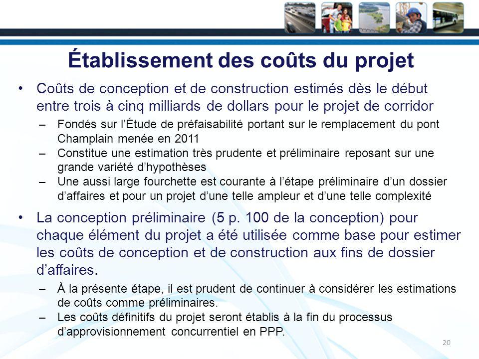 Établissement des coûts du projet