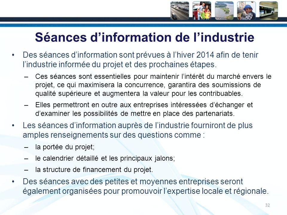 Séances d'information de l'industrie