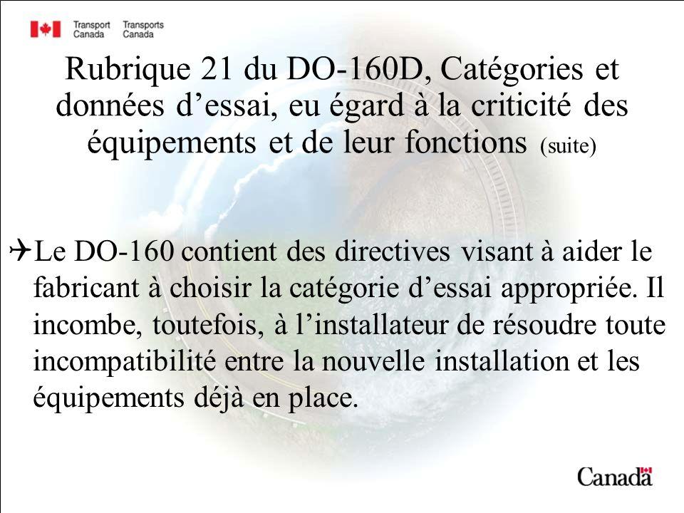 Rubrique 21 du DO-160D, Catégories et données d'essai, eu égard à la criticité des équipements et de leur fonctions (suite)