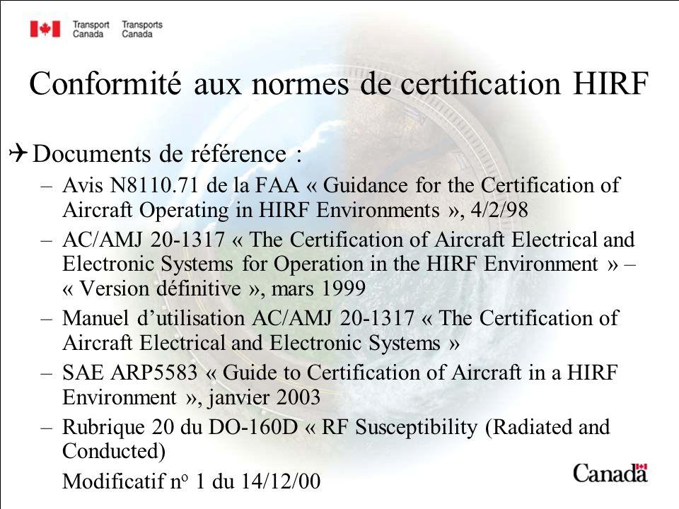 Conformité aux normes de certification HIRF