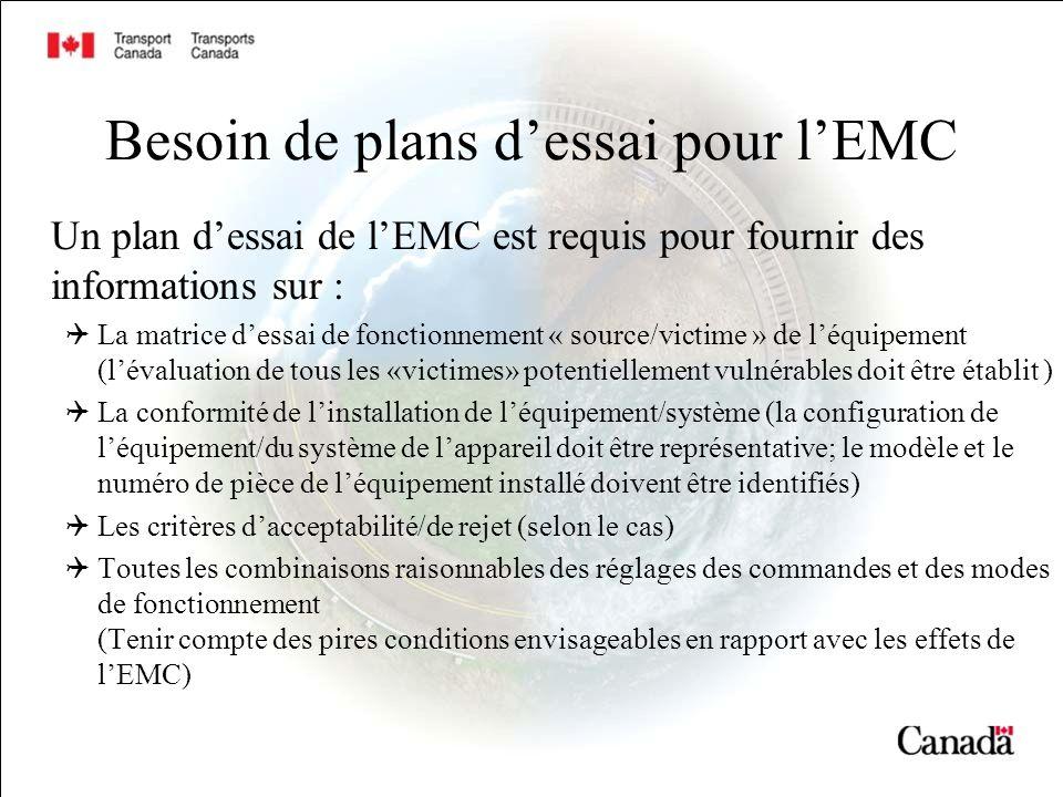 Besoin de plans d'essai pour l'EMC