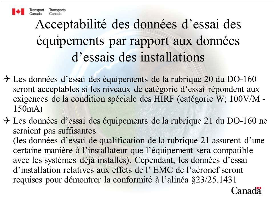 Acceptabilité des données d'essai des équipements par rapport aux données d'essais des installations
