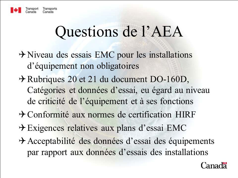 Questions de l'AEA Niveau des essais EMC pour les installations d'équipement non obligatoires.