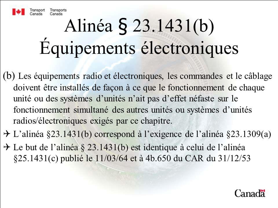 Alinéa § 23.1431(b) Équipements électroniques