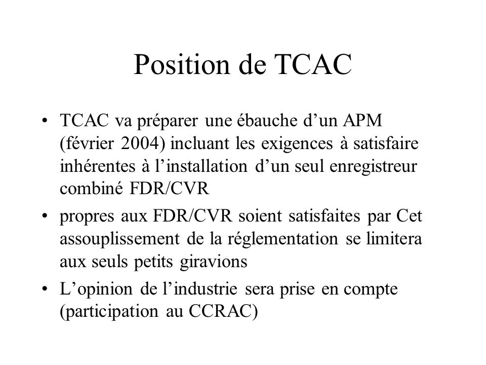Position de TCAC