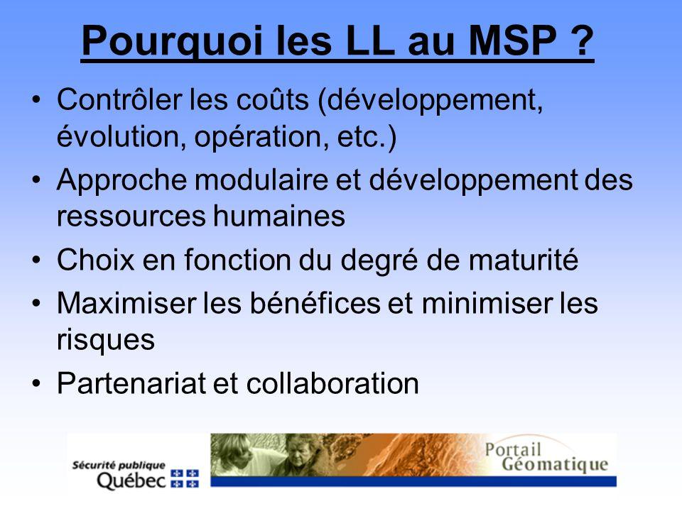 Pourquoi les LL au MSP Contrôler les coûts (développement, évolution, opération, etc.)