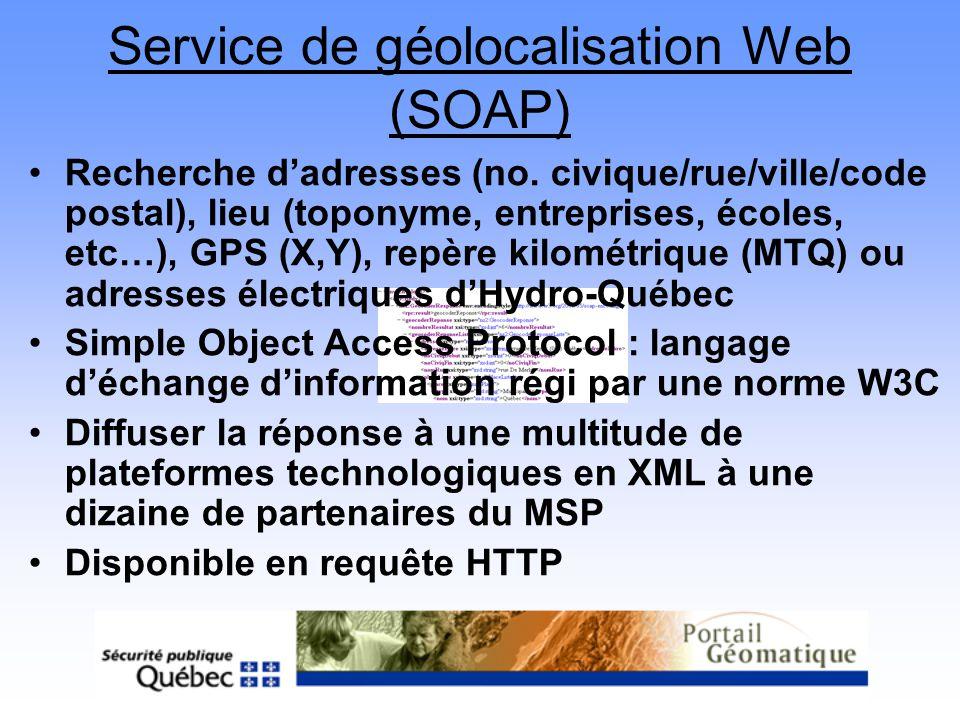 Service de géolocalisation Web (SOAP)