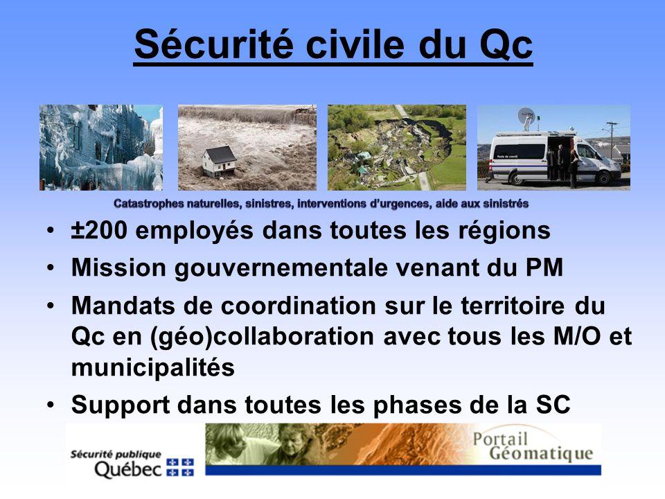 Sécurité civile du Qc ±200 employés dans toutes les régions