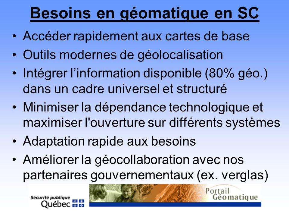 Besoins en géomatique en SC