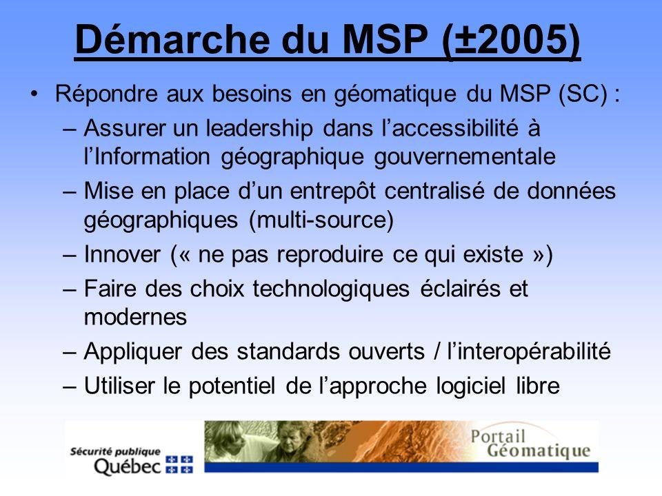 Démarche du MSP (±2005) Répondre aux besoins en géomatique du MSP (SC) :
