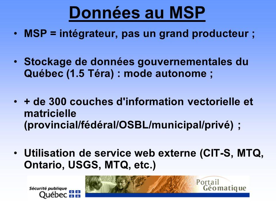 Données au MSP MSP = intégrateur, pas un grand producteur ;