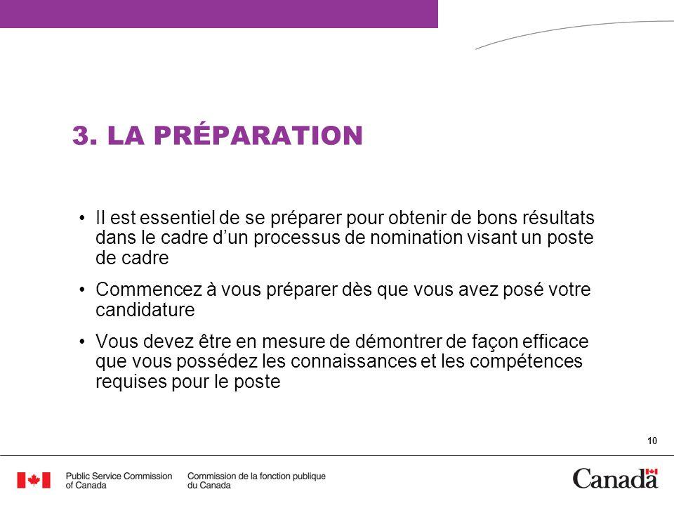 3. LA PRÉPARATION Il est essentiel de se préparer pour obtenir de bons résultats dans le cadre d'un processus de nomination visant un poste de cadre.
