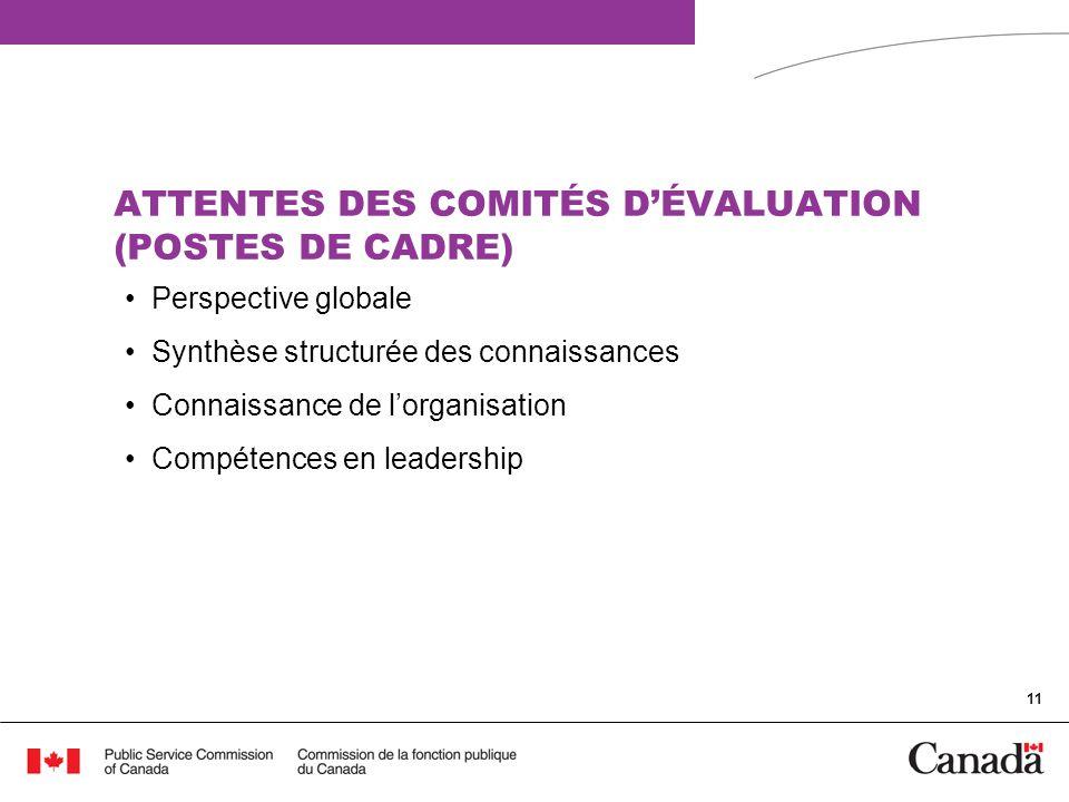 ATTENTES DES COMITÉS D'ÉVALUATION (POSTES DE CADRE)