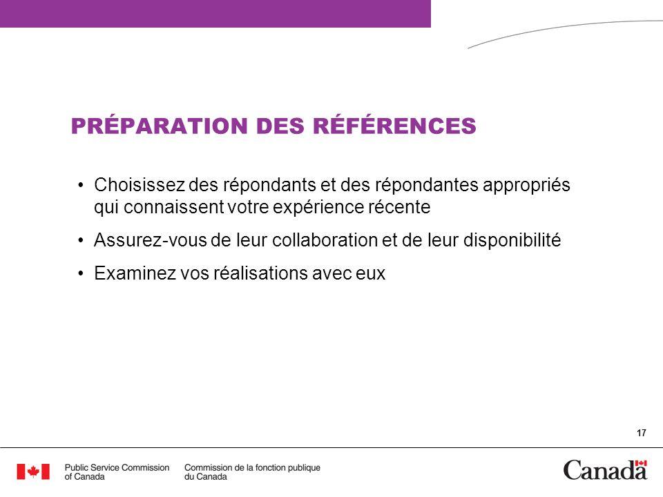 PRÉPARATION DES RÉFÉRENCES