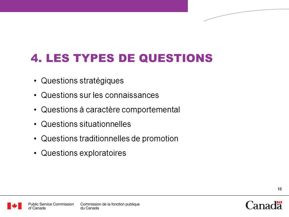 4. LES TYPES DE QUESTIONS Questions stratégiques