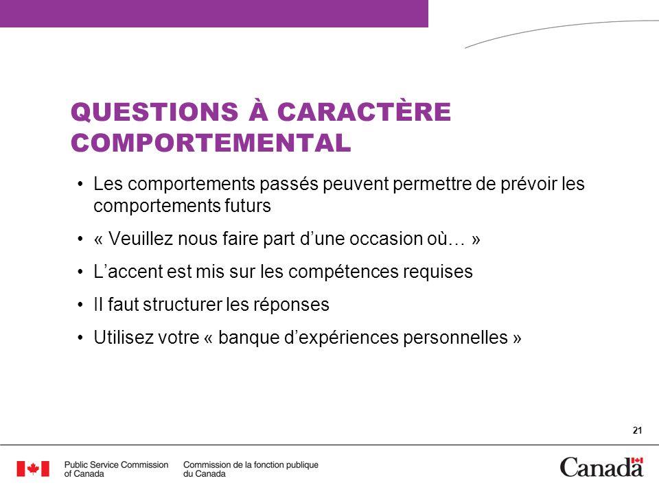 QUESTIONS À CARACTÈRE COMPORTEMENTAL