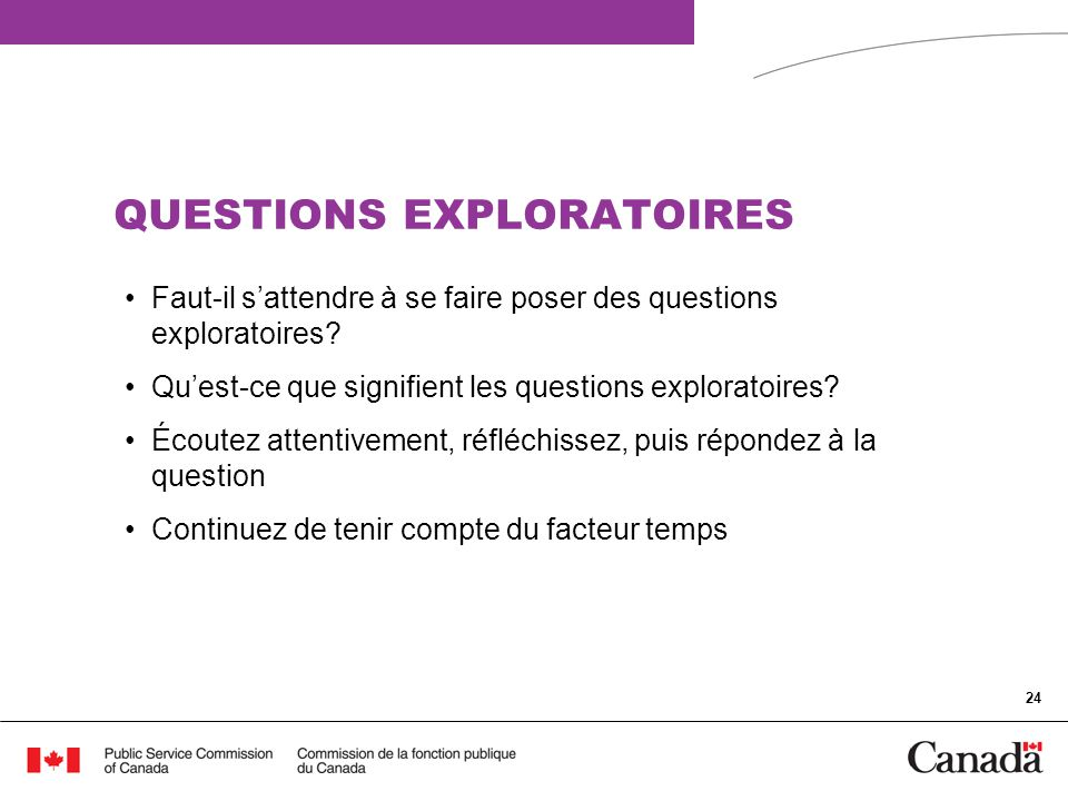 QUESTIONS EXPLORATOIRES