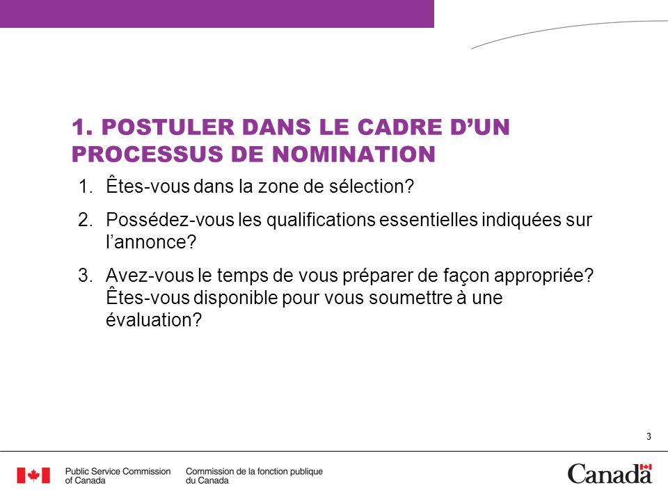 1. POSTULER DANS LE CADRE D'UN PROCESSUS DE NOMINATION