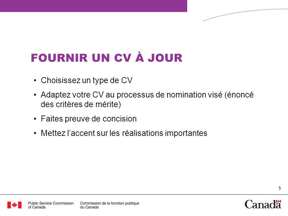 FOURNIR UN CV À JOUR Choisissez un type de CV