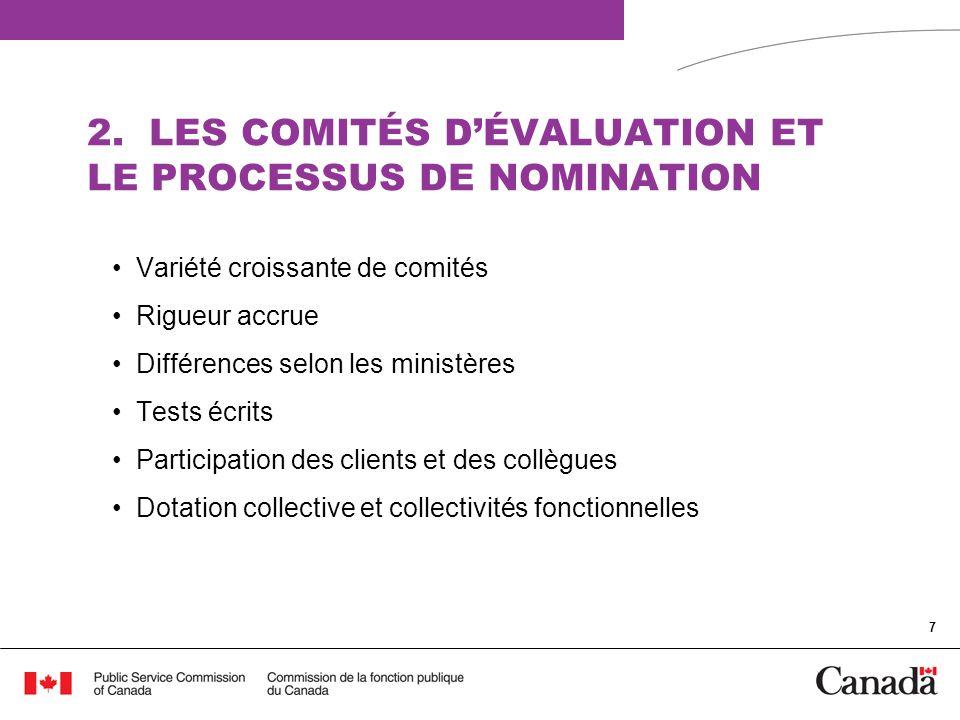2. LES COMITÉS D'ÉVALUATION ET LE PROCESSUS DE NOMINATION