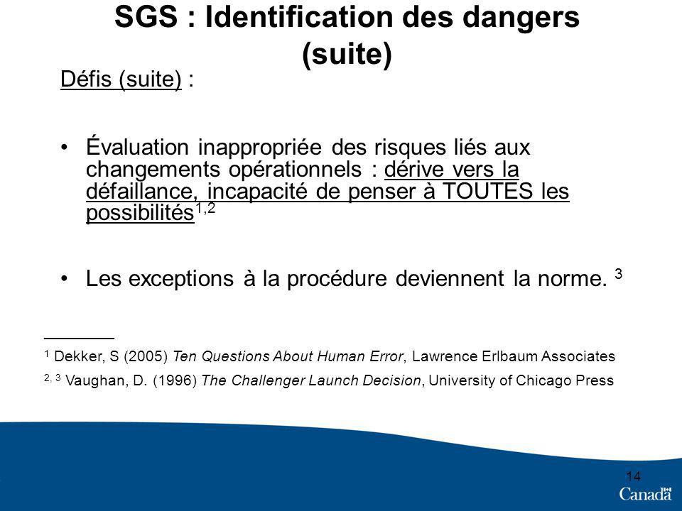 SGS : Identification des dangers (suite)