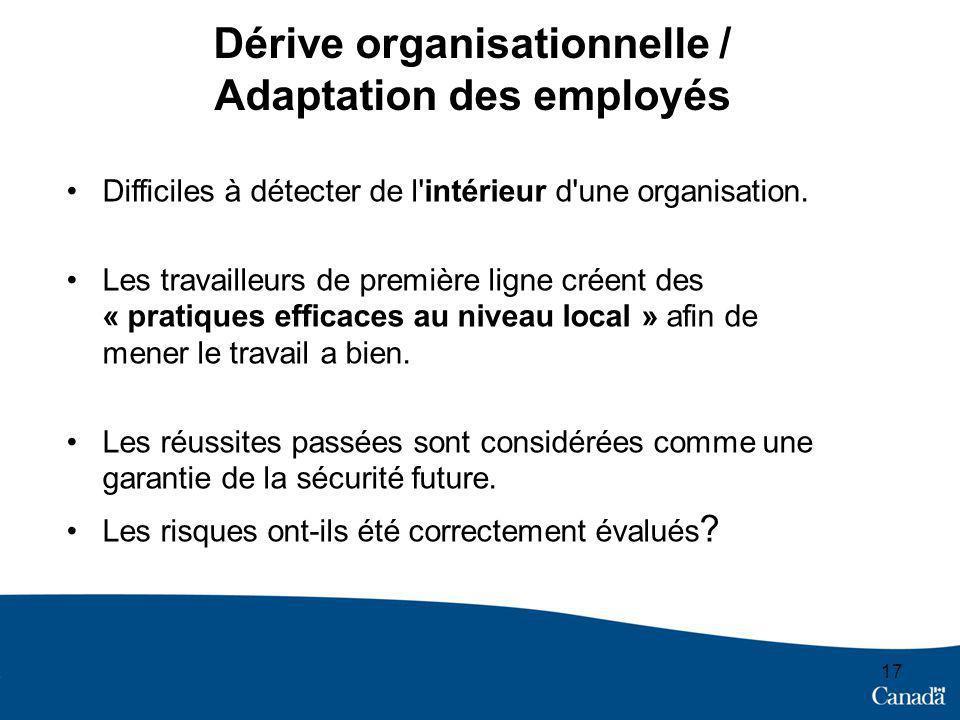 Dérive organisationnelle / Adaptation des employés