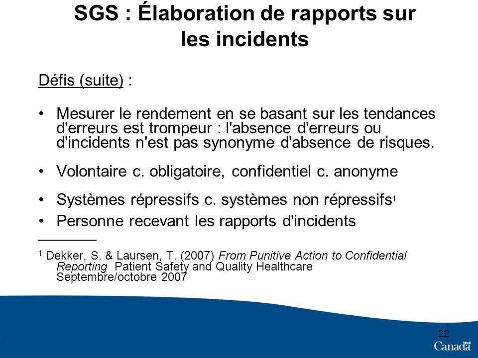 SGS : Élaboration de rapports sur les incidents