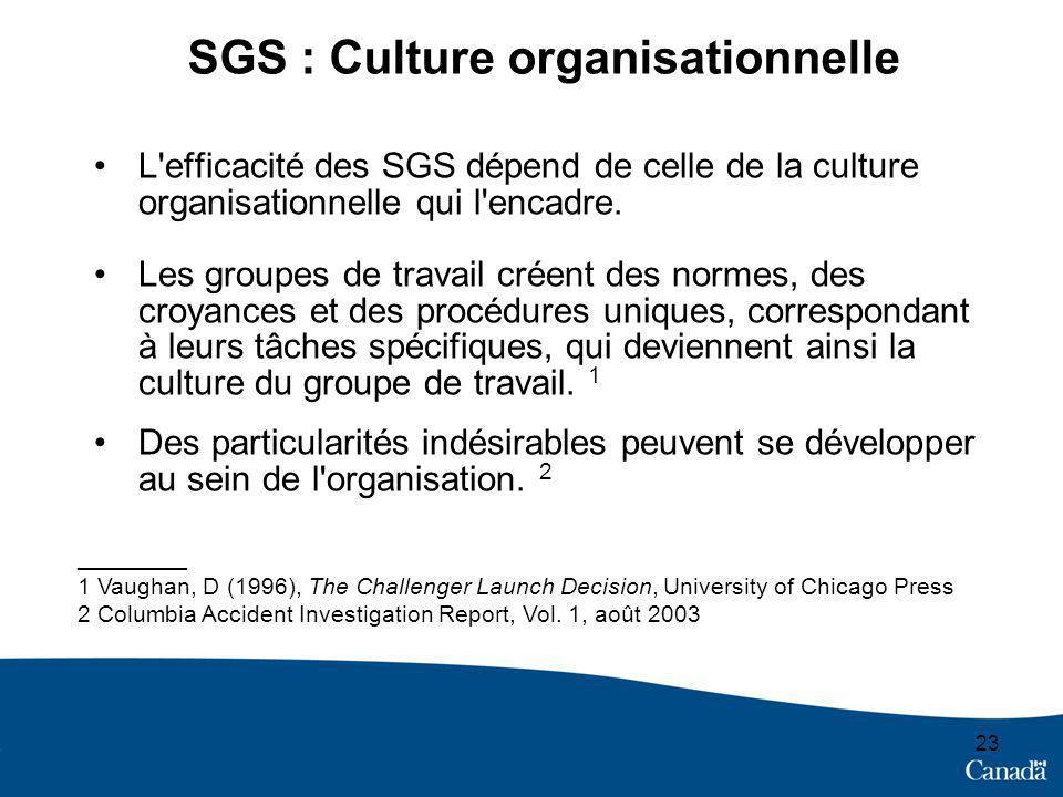 SGS : Culture organisationnelle