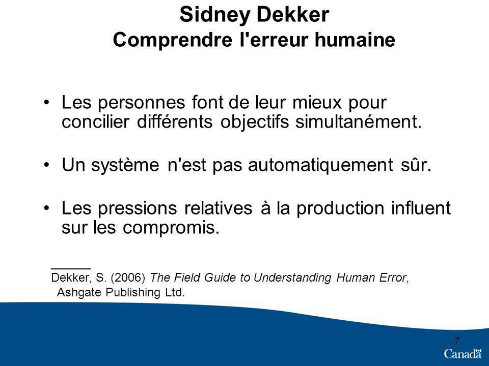 Sidney Dekker Comprendre l erreur humaine