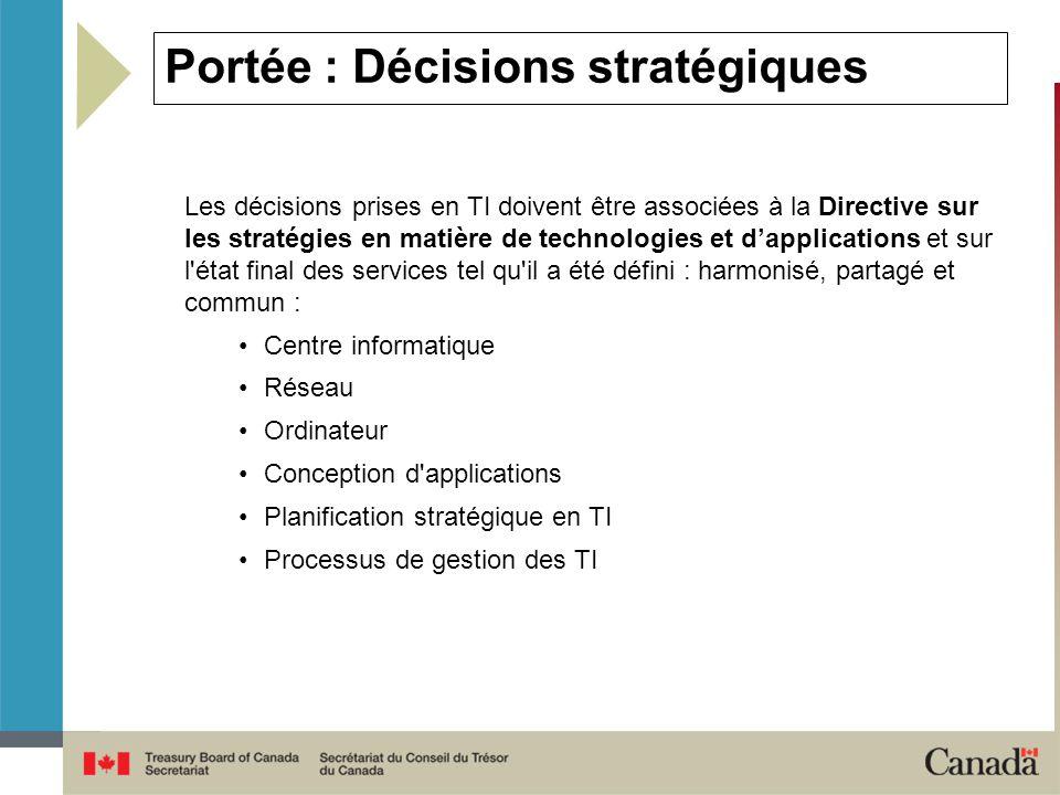 Portée : Décisions stratégiques