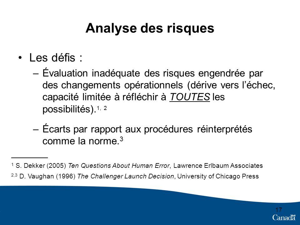 Analyse des risques Les défis :