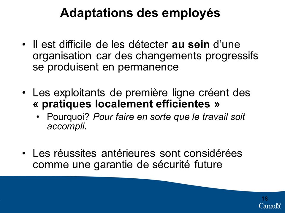 Adaptations des employés