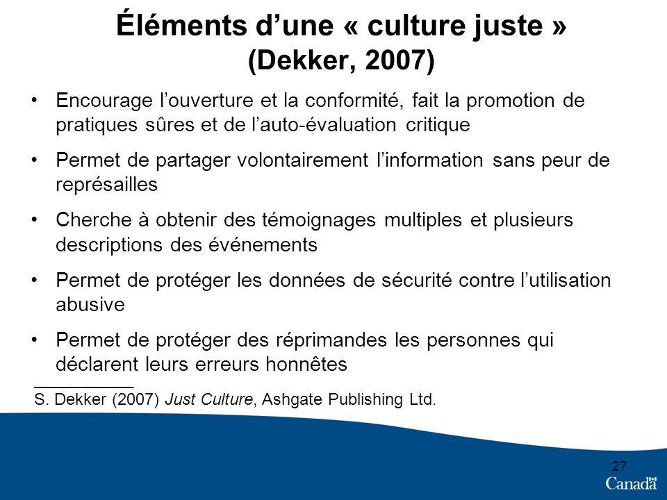 Éléments d'une « culture juste » (Dekker, 2007)
