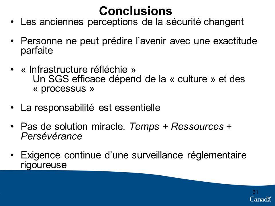 Conclusions Les anciennes perceptions de la sécurité changent